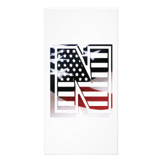Letter N Monogram Initial Patriotic USA Flag Card