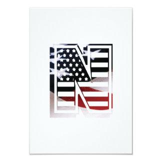 Letter N Monogram Initial Patriotic USA Flag Card