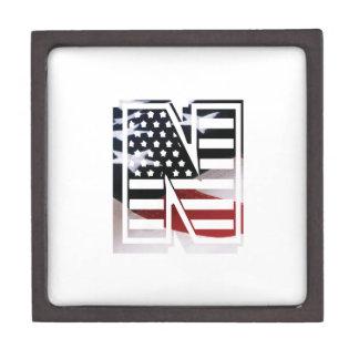 Letter N Monogram Initial Patriotic USA Flag Keepsake Box
