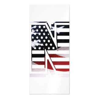 Letter N Monogram Initial Patriotic USA Flag Magnetic Card