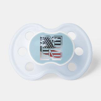 Letter N Monogram Initial Patriotic USA Flag Pacifier