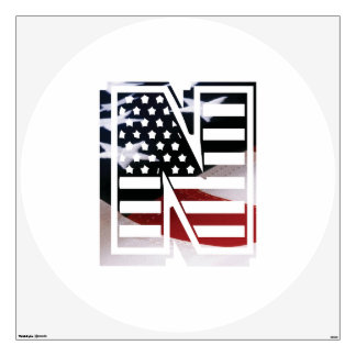 Letter N Monogram Initial Patriotic USA Flag Wall Sticker