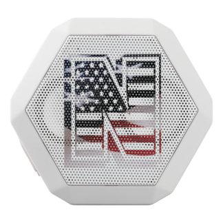 Letter N Monogram Initial Patriotic USA Flag White Bluetooth Speaker