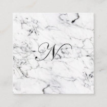 Letter N monogram Marble texture Enclosure Card