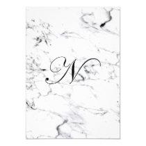 Letter N monogram Marble texture Invitation