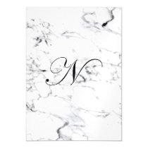 Letter N monogram Marble texture Magnetic Invitation