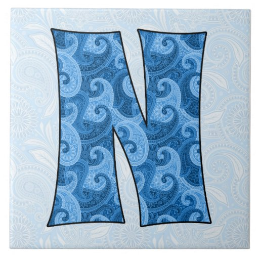 Letter N Monogrammed Blue Paisley 6 Inch Tile Zazzle