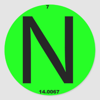 Letter N periodic table Classic Round Sticker