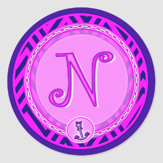 Letter 'N' Pink Nautical Chevron w/ Anchor  - Classic Round Sticker