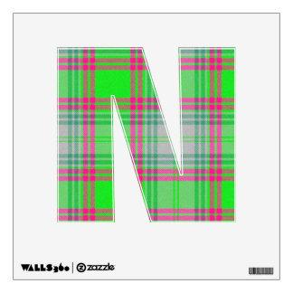 letter N punk college rock tartan plaid alphabet Room Decals