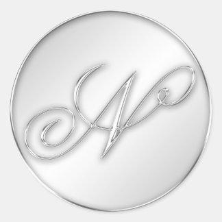 Letter N script initial faux silver monogram favor Classic Round Sticker