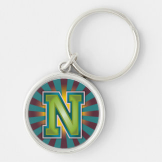 Letter 'N' Silver-Colored Round Keychain