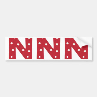 Letter N - White Stars on Dark Red Bumper Sticker