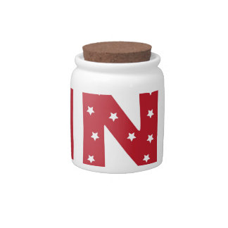 Letter N - White Stars on Dark Red Candy Dishes
