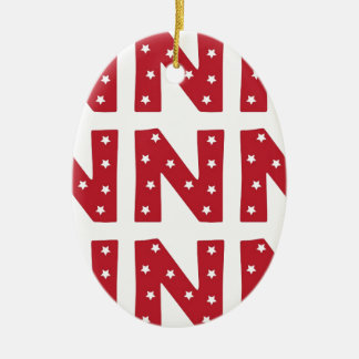 Letter N - White Stars on Dark Red Ceramic Ornament