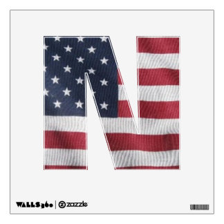 Letter N window decal with flag pattern