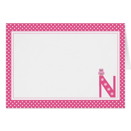 Letter N with Owl Blank Note Card