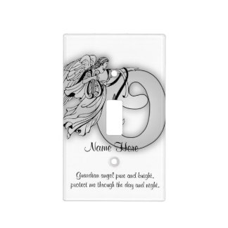 Letter o angel monogram alphabet initial black and light switch plate