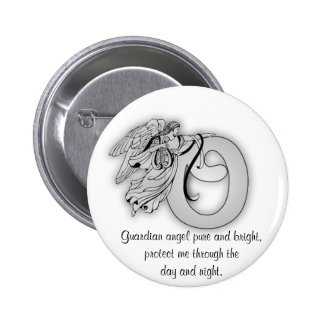 Letter o angel monogram alphabet initial black and pinback button