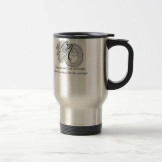 Letter o angel monogram alphabet initial black and travel mug