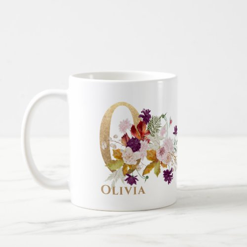 Letter O _ Gold Floral Name sister coworker friend Coffee Mug