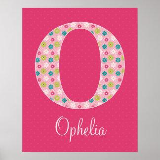 Letter O Initial Alphabet Poster for Girl