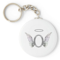 Letter O Initial Monogram with Angel Wings & Halo Key Chains