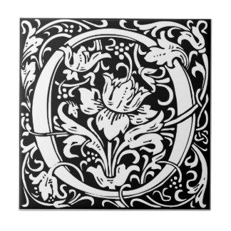 Letter O Medieval Monogram Vintage Initialv Tile