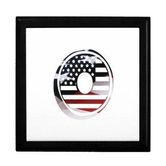 Letter O Monogram Initial Patriotic USA Flag Keepsake Box
