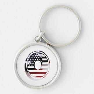 Letter O Monogram Initial Patriotic USA Flag Keychain