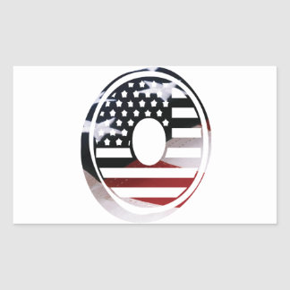 Letter O Monogram Initial Patriotic USA Flag Rectangular Sticker