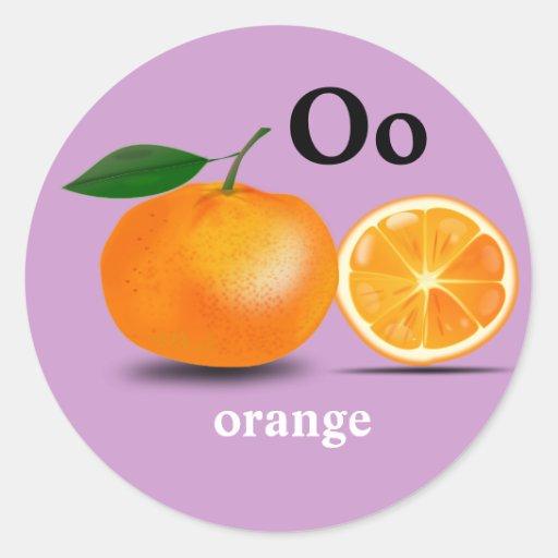 Letter O orange Sticke...