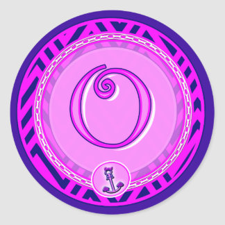Letter 'O' Pink Nautical Chevron w/ Anchor  - Classic Round Sticker
