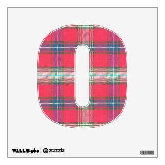 letter O punk plaid tartan red rockabilly retro Wall Sticker