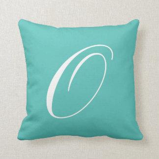 Letter O Turquoise Monogram Pillow
