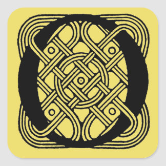 Letter O Vintage Celtic Knot Monogram Square Sticker