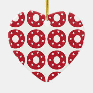 Letter O - White Stars on Dark Red Double-Sided Heart Ceramic Christmas Ornament
