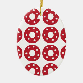 Letter O - White Stars on Dark Red Double-Sided Oval Ceramic Christmas Ornament