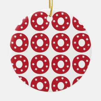 Letter O - White Stars on Dark Red Double-Sided Ceramic Round Christmas Ornament