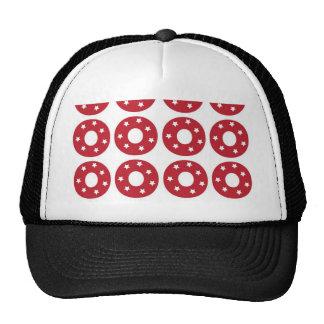 Letter O - White Stars on Dark Red Trucker Hat