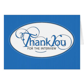 Letter of Recommendation Thank You in Blue Script Card