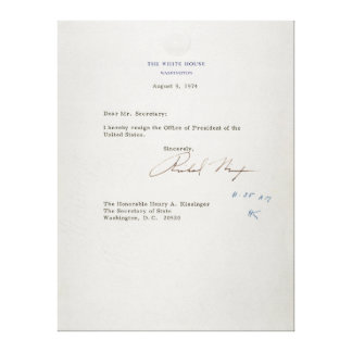 Letter of Resignation of Richard M Nixon 1974 Stretched Canvas Prints