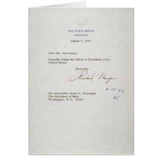 Letter of Resignation of Richard M. Nixon 1974 Card