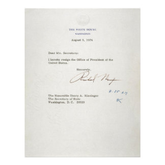 Letter of Resignation of Richard M. Nixon 1974 Letterhead Template