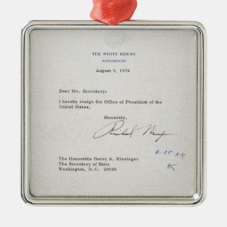 Letter of Resignation of Richard M. Nixon 1974 Metal Ornament