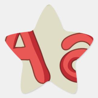 Letter of the alphabet star sticker