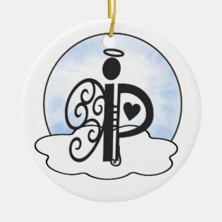 Letter P Alphabet Initial Monogram w Angel Clouds Christmas Tree Ornament