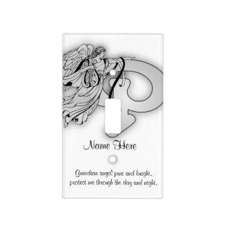 Letter P angel monogram alphabet i Light Switch Covers