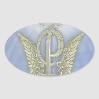 Letter P Angel Monogram Oval Sticker