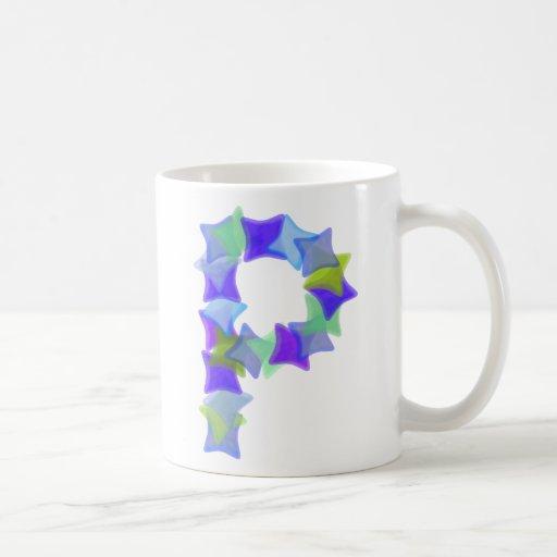 Letter P, Blue seaglass mosaic squares, mug